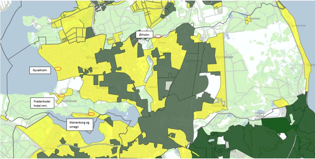 Oversigtskort for Lyngby-Taarbæk Kommune med lokationer, der kan undersøges for eventuel etablering af lokale varmenet/energifællesskaber.